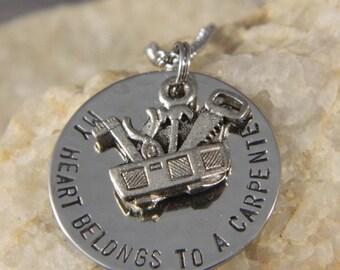 My Heart Belongs to a Carpenter Handstamped Necklace
