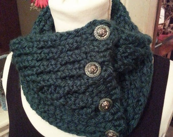 Peacock Teal Double Knit Scarf with Verdigris Lion Buttons - OOAK Handmade from an EtsyMom