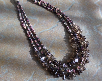 Triple Strand Tourmaline, Smoky Quartz, Faceted Glass & Bali Silver Necklace