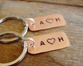 Couple Keychain Set, Matching Set of 2,Personalized Couples Gift,Copper Anniversary,Heart Keychain,Hand Stamped,Wedding Gift,Valentine Gift