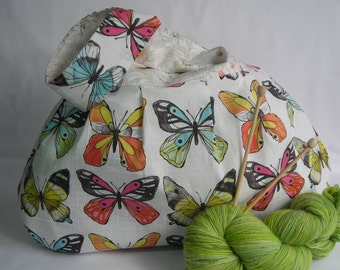 Japanese Knot Bag - Project bag - large size - for knitting crochet - butterflies and flowers - free knitting pattern too