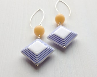 enchante earrings - vintage lucite and sterling - one of a kind - summer pastels