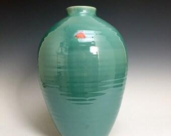 Large Bud Vase; Fine Art Ceramics; Florida Keys; Celadon Glaze