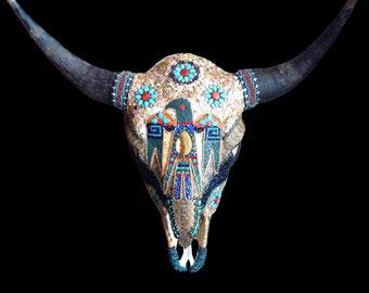 Buffalo Bison Skull Mosaic Rattlesnake Mother of Pearl Western Southwestern Native American Style Wall Decor