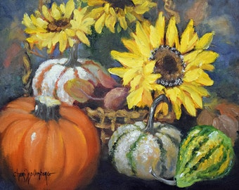 Still Life Menagerie of Sunflowers And Gourds Painting,Pumpkins,Gourds,Sunflowers Original Oil Painting by Cheri Wollenberg