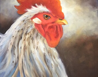 Rooster Painting 216,Animal Art,Original Oil on Canvas