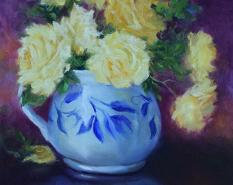 Still Life Painting,Yellow Rose Painting,Original Canvas Still Life Art by Cheri Wollenberg