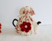 1 - 2 Cup Hand Knitted Tea cosy Pot Cover, Flower Cozy