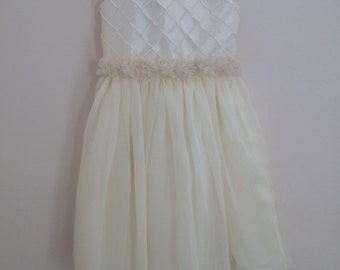 Ivory Quilted Flower Girl Dress/Special Occasion Dress With Flower trim with Chiffon Skirt Size 3T - 4T