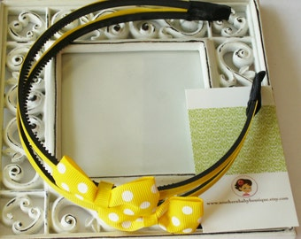 NEW----Hair Bow Doubled U-Shape Headband---Yellow with White Dots----