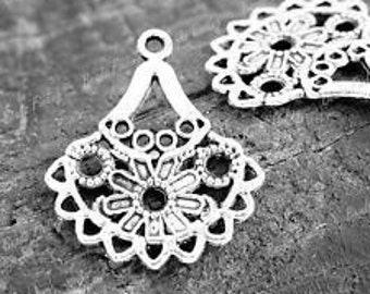 Vintage Style Earring Links, Antique Silver, Pack Of 10