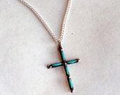 """Vintage Sterling Silver and Turquoise Cross - Artisan Made Silver Cross - Small Dainty Cross - 18"""" Silver Chain - Possibly Native American"""