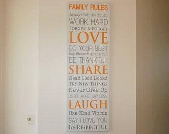 Custom Family Rules Canvas Wrap