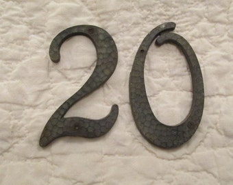Vintage numbers 20 metal pebbled finish