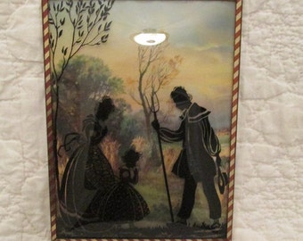 Vintage Silhouette Picture Reverse Painted Convex Glass
