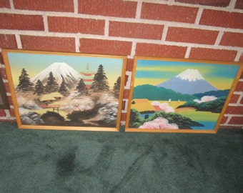 Vintage 1940s Pair of Original Framed Japanese Colorful Landscape Painting