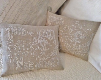 Good Morning & Good Night Lavender filled Pillows/ Hand Embroidered Linen Pillows