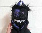 Monster Plush - Halloween Plush Monster - Handmade Mini Monster - Black Faux Fur - Hand Embroidered Cute Toy - Weird Plush - Purple Web