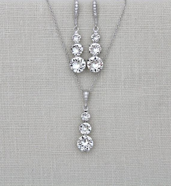 Bridal necklace, Wedding necklace, Swarovski crystal necklace, Bridesmaids jewelry, Bridesmaid necklace, Wedding jewelry, Crystal drop