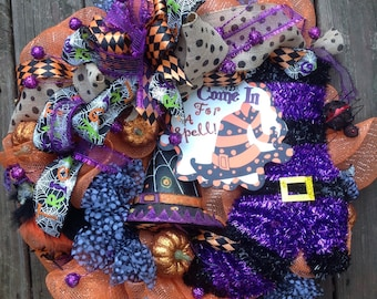 COME IN for a SPELL Halloween Witch Wreath- Witch Boot- Owl- Witch Hat