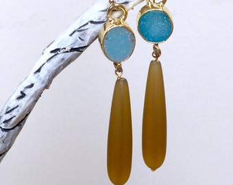 Blue Druzy Quartz - Mustard Sea Glass Earrings.  Smooth Sea Glass Teardrops. Gold Filled Earrings. Statement Jewelry.
