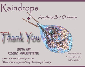 Happy Valentine's Day.  20% discount on entire handcrafted gemstone jewelry purchase. Coupon code: VALENTINE.
