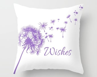 Lavender Dandelion Throw Pillow or Cover