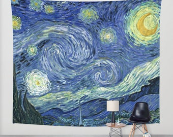 Van Gogh Starry Night Fabric Wall Tapestry, Wall Hanging, Boho Decor, Home Decor, Art, Dorm Room Tapestry, Indoor Outdoor Tapestry