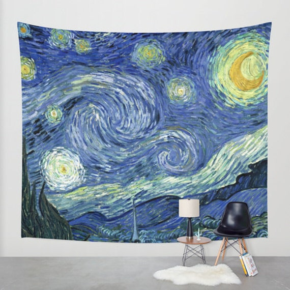 Van Gogh Starry Night Fabric Wall Tapestry Wall Hanging Boho