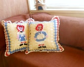 raggedy ann and andy crochet pillow, 15 X 15 square throw pillow, nursery decor