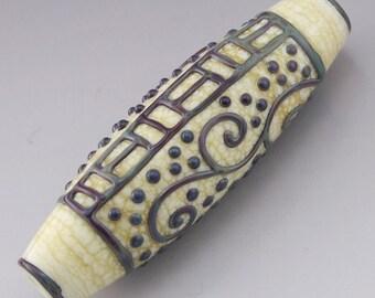 Scrollwork Bicone Tube Focal Artisan Lampwork Bead Multicolor Stringer Ivory Cream Handmade Glass Heather Behrendt  SRA 3411