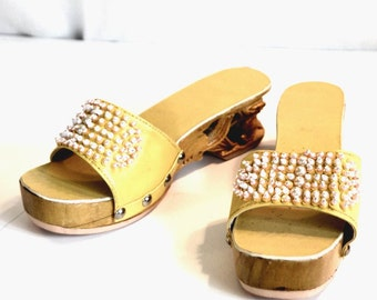 Yellow Clogs Made in Philippines Carved Wood Heels Beaded Narrow