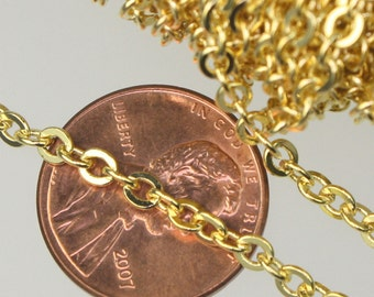 32 ft spool of Gold Plated Flat ROUND Soldered Cable Chain - 3.4x3.4mm SOLDERED Link - Ship from California USA