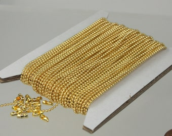 Gold Plated Ball Chain Bulk 100 feet Ball ROUND micro ball chain - 1.2mm ball size w/ FREE 100 connectors (Insert Type)