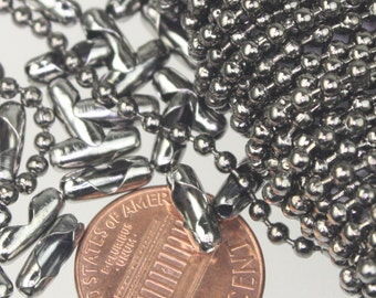 Gunmetal Chain Ball Bulk Chain, 12 ft. of ROUND BALL chain Necklace Wholesale Chain - 2.4mm ball size - w/ FREE 10 pcs Connectors (Insert)
