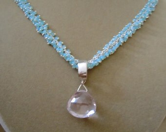 Veil -- Pink Amethyst and Aqua Chalcedony Cluster Chain Focal Pendant Necklace -- One of a Kind.