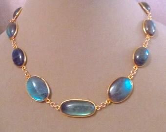 Alchemist Too -- High Flash Labradorite Domed Connector + 14K Gold Filled Necklace (B)