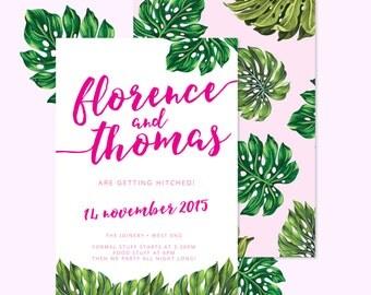 Magenta Monstera Tropical Wedding Ready-to-Post Wedding Invitation Suite