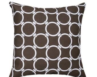Premier Prints Linked Bay Brown Decorative Outdoor Pillow - Brown Gatework Circles Throw Pillow - Free Shipping