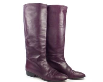 Tall Flat Boots Vintage 1980s Anne Klein Burgundy Leather Women's size 9 1/2