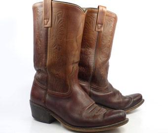 Campus Leather Boots Vintage 1970s Carmel brown Cowboy Acme Men's size 7 1/2