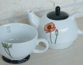 Personalized tea for one teapot and teacup set hand painted porcelain custom and monogrammed