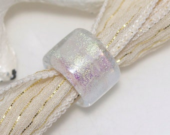 Sparkly Clear Dichroic Dread Bead with 9mm hole