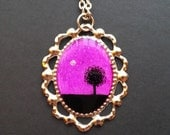 Nature at Night LONE TREE 21 x 30 mm Hand Painted Necklace