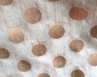 "Handloom silk cotton blend artisan handloom fabric from India, gorgeous metallic thread gold polka-dots. Suitable for fashion & decor, 45"" W"