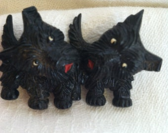 Vintage Scottie Dogs Pin with Movable Heads from Barneche/ Stephanie Barnes