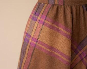 Wool 70s Plaid Skirt Small