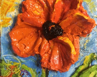 Red Poppy 4x4 Original Impasto Oil Painting by Paris Wyatt Llanso