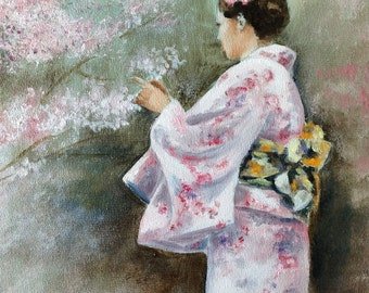 giclee print of a japanese lady wearing kimono under the cherry blossom