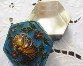 Vintage Cloisonne Chinese Trinket Snuff Box Hexagon Silver Enamel Flowers Carved Tiger's Eye Asian Collectible